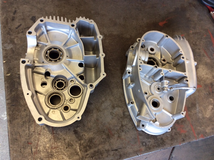 Ducati crankcases after aqua blasting