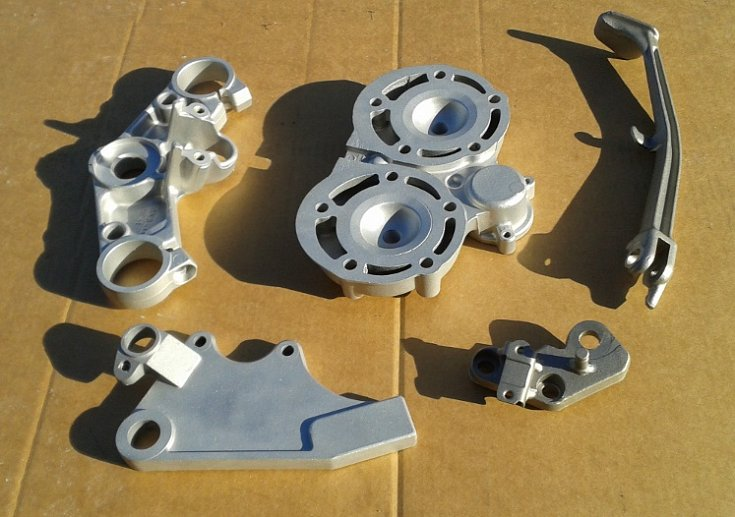 Steel and Aluminium parts aqua blasted